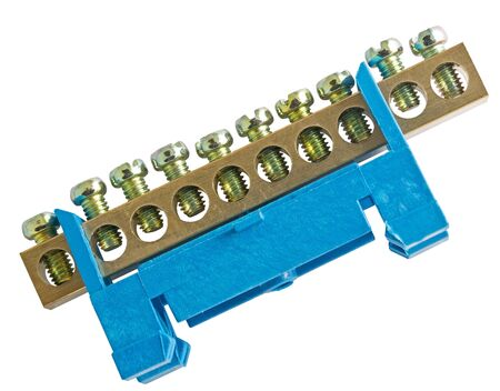 electricity terminal strip on a white background on white background