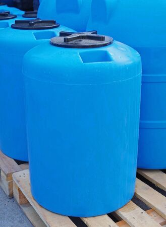 Blue plastic water and liquids barrel storage industrial containers