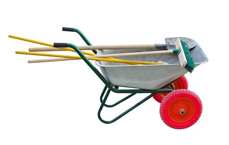 Garden metal wheelbarrow cart with shovel and brushes