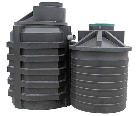 black plastic septic tanks on white background