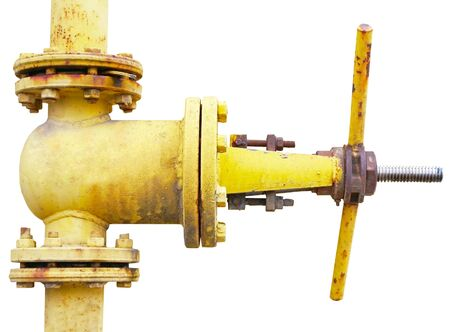old metal pipe with valve on white background Imagens