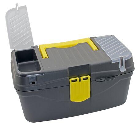 black plastic tool box isolated on white background
