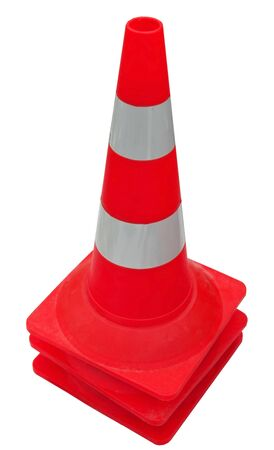 traffic cone with white and orange stripes on white background Zdjęcie Seryjne