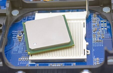 installation CPU on the socket of the computer motherboard