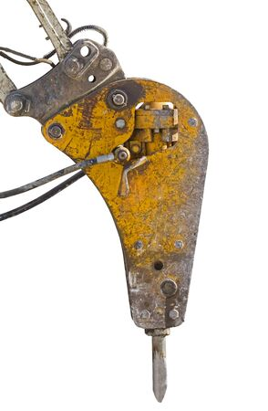 Hammer attached equipment for drilling and breaking on white background