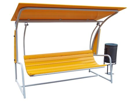 beautiful modern bench with protection from the rain on white background