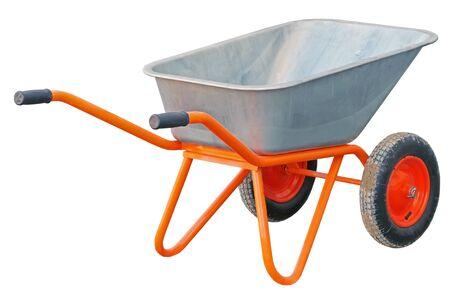 Garden metal wheelbarrow cart isolated on white background Фото со стока
