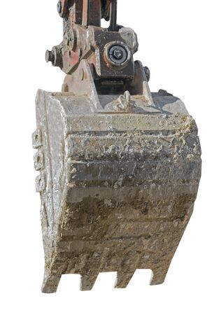 part of modern excavator machines isolated on white Фото со стока - 140244867