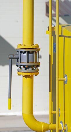 the new big metal pipe with valve Фото со стока