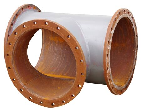 Water steel pipe with flange close up image