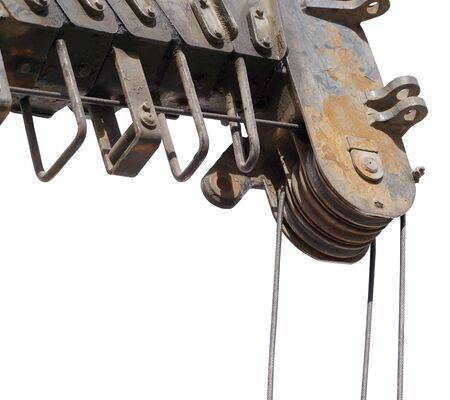 close up at top beam of crane mobile Фото со стока