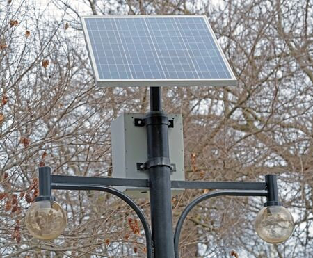 Street Light powered by a solar panel with a battery