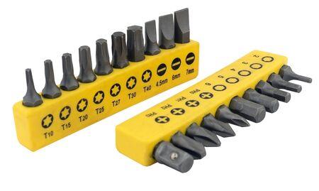 Set of bits for screwdrivers on white background Zdjęcie Seryjne