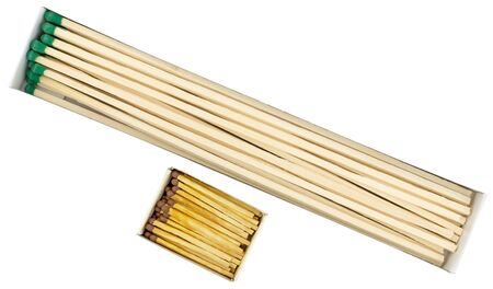 group of matches sticks and ordinary matches on a white back ground