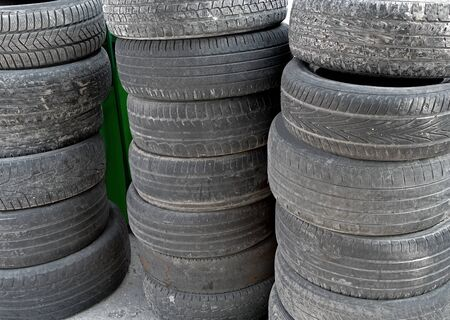 the old tires stacked as background