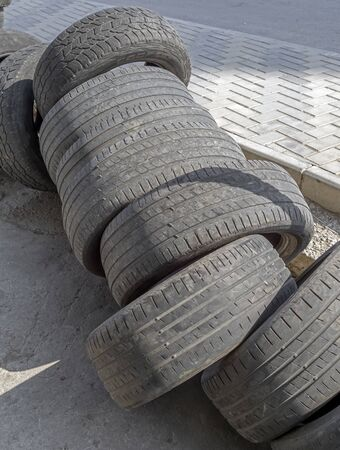 Pile of many old, used tires