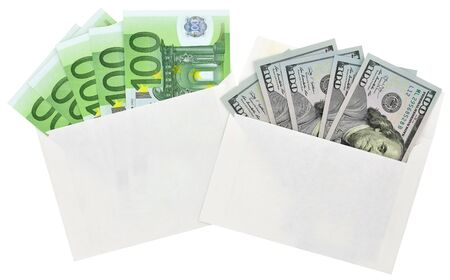 Euro banknotes, dollars in the envelopes on white background