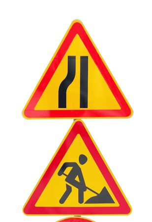 Road signs isolated on white background Stock fotó