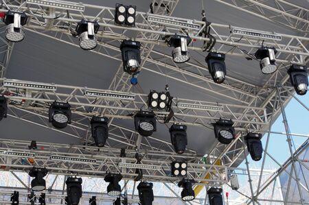 Light heads equipment preparing for a light show Banque d'images