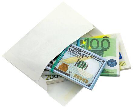 Bundle of american dollar banknotes and euro banknotes in white envelope