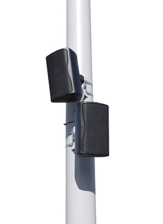 Outdoor public announcement communication system loudspeakers on white background