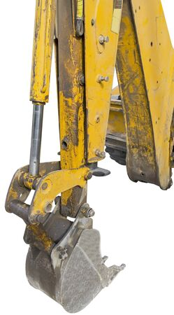part of modern yellow excavator machines on white background