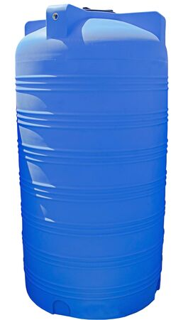 Blue plastic water and liquids barrel storage industrial container isolated on white background 版權商用圖片