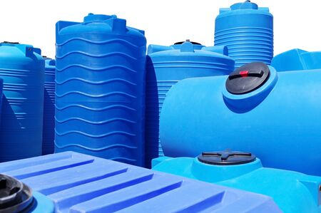 Blue plastic water and liquids barrel storage industrial containers isolated on white background 版權商用圖片
