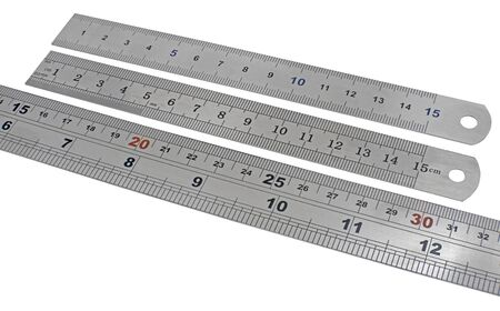 Metal rulers isolated on white background