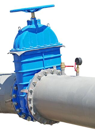blue wheel valve with pipe on white background 版權商用圖片