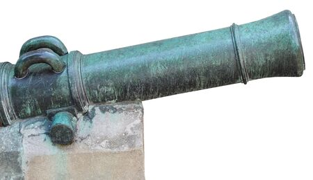Age-old ship cannon on a white background