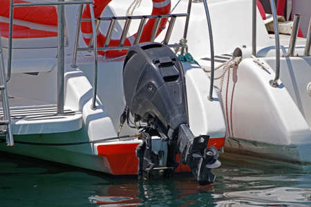 boat propellers on hub of outboard motor close up 写真素材 - 150604191