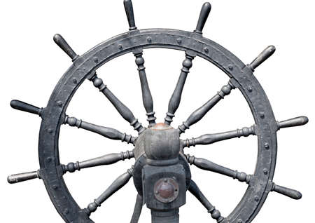 the Old boat steering wheel from wood Banque d'images