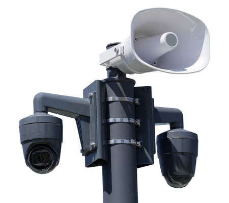 Safety ip cameras and loud speaker for monitoring on white background Imagens
