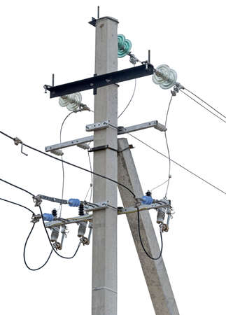 View of power high voltage transmission lines with many wires to transmit and deliver electricity on white background