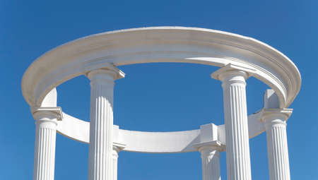 Architectural construction with columns on a background sky