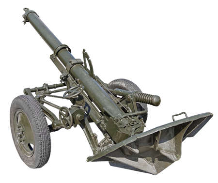 Old Mortar cannon gun on white background