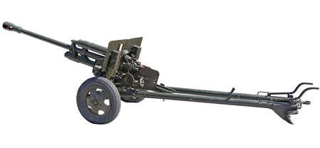 Artillery gun from the World War II age on white background Foto de archivo