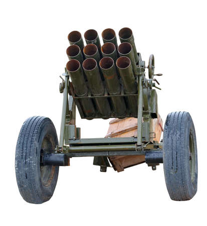 Old mobile rocket launcher isolated over white background Фото со стока