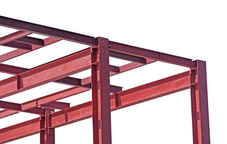 Steel Frames of A Building Under Construction on white background