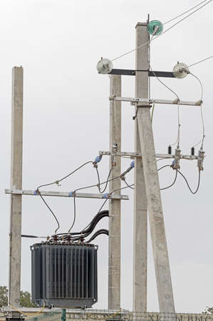 electric tower high voltage post and an electrical transformer