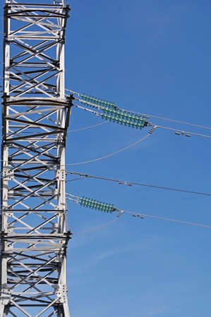 electric tower high voltage post with blue sky