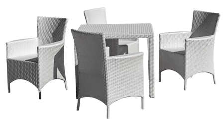 the chairs and table on a white background
