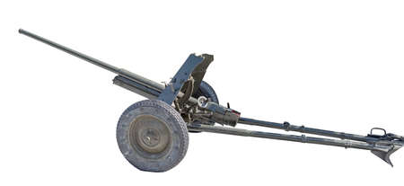 Artillery gun from the World War II age on white background