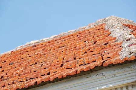 Roof with old tiles seen from above