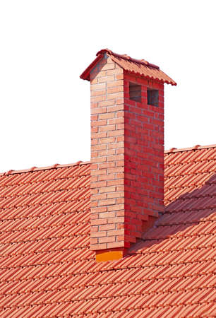 house from a red brick with a pipe on white background