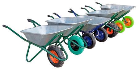 Garden metal wheelbarrow carts isolated on white background