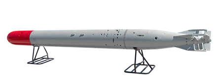 old torpedo isolated on white background
