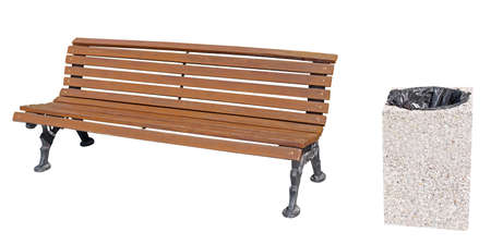Park Bench and garbage container on white background