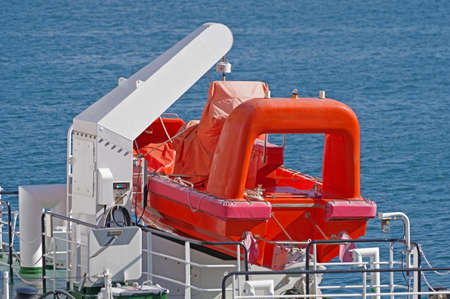 The rescue boat to evacuate people from a vessel in an emergency